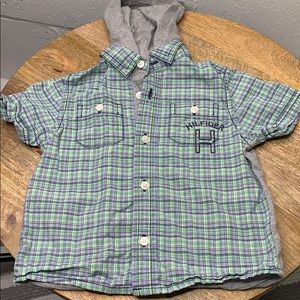 Tommy Hilfiger baby button down hooded shirt
